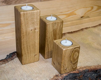 Set of 3, French Character Oak, Tea Light Holders