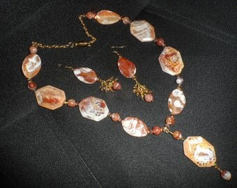 Fire Aggate Necklace and Earring Set