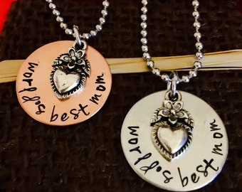 Hand stamped worlds best mom mothers day birthday gift