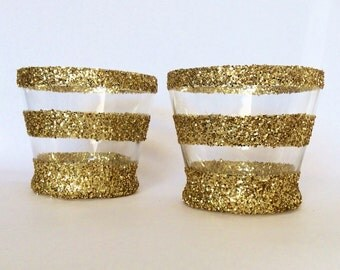 Stripped Gold Glitter Vase - candle holder - set of 4