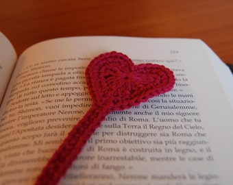 Heart bookmark crochet pattern Valentine's heart crochet bookmark PDF gift