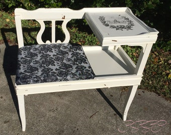 SOLD!!!! Vintage Gossip Bench / Telephone Table - Social Butterfly