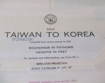Taiwan to Korea ~ Asia - Includes Sea of Japan, East China Sea, Gulf of Pohai, Ryukyu Islands, South China,Yellow, and Philippine Sea, 6500
