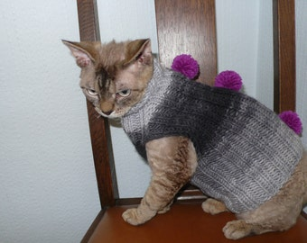 Hand knitted cat sweater jumper hand knitted sweaters for cat Sphynx Devonrex hairless hand made