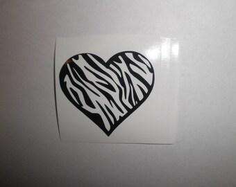 Zebra Heart Vinyl Decal/Sticker