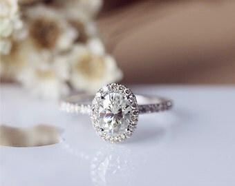 Oval Brilliant Moissanite Engagement Ring Solid 14K White Gold Moissanite Ring Wedding Ring Promise Ring Anniversary Ring