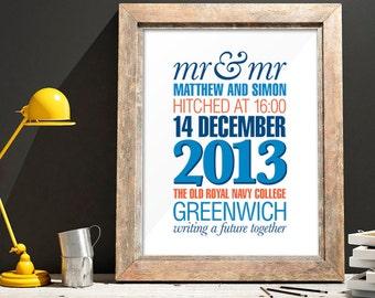 Mr & Mr Modern Wedding Day Print
