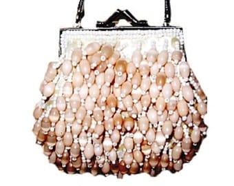VINTAGE PLANET Peach Shell Satin Bridal Bag (RARE)