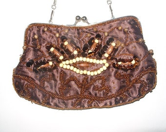 Vintage Brown Satin Evening Bag with Beads