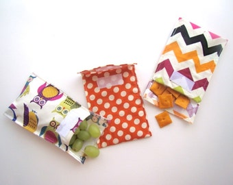 Set of 3 Reusable Snack Bags- Velcro Close Pouch- Bold Colors