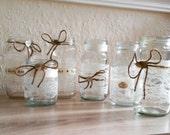 Articoli simili a 9 barattoli di vetro decorato - Barattoli decorati shabby ...