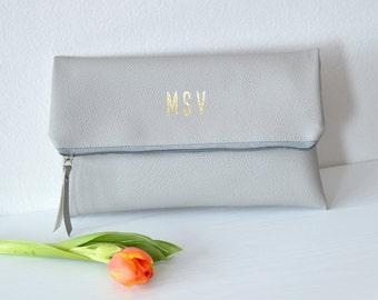 Foldover monogrammed clutch Purse / Bridesmaid Gift / Personalized Clutch Bag / Evening Clutch Purse / Light Grey Clutch Bag
