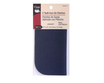 "Twill Iron-On Patches - 5""x5"" (Navy) 2Ct by Dritz D55240-3T"