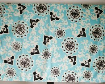 Aqua, black, and white floral minky blanket