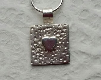 Handmade Fine Silver Pendant with 925 Necklace - Free Post
