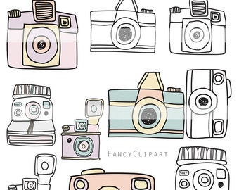 Instant Download - Hand drawn Vintage Camera Set - Vector, doodle, drawing, photography, digital files for personal and commercial use