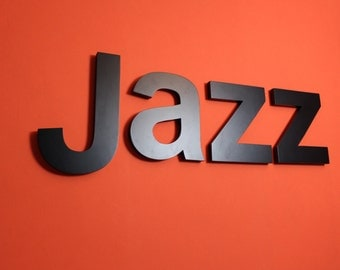wooden letters: Word jazz black lacquered