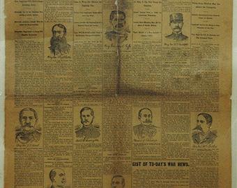 1881 Laminated Original Spanish American War Newspaper Page Dec 4th