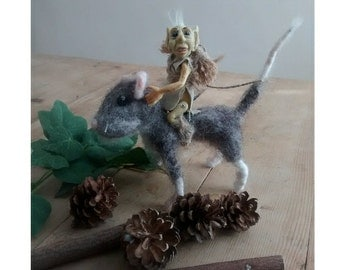 Ooak polymer clay goblin character sculpture riding a needle felted mouse Waldorf  inspired fibre fairy elf mythical fairy tale Animals.