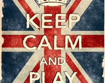 KCV29 Vintage Style Union Jack Keep Calm Play Drums Poster Re-Print Wall Decor A2/A3/A4
