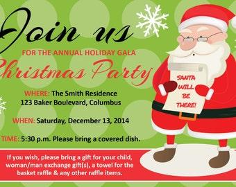 Santa-themed Christmas party 4x6 invitation