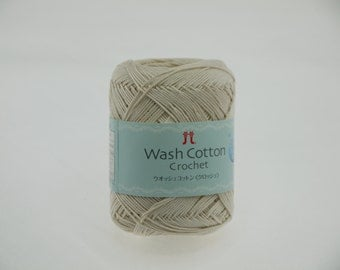 Hamanaka Wash Cotton Crochet Yarn Color 102 (Cream)