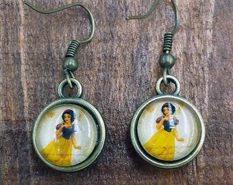 Antique Bronze Style Earrings Snow White