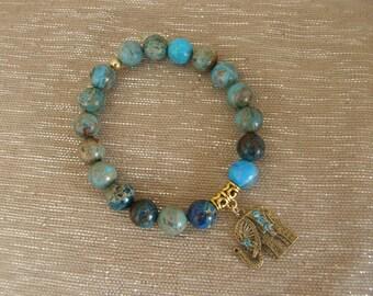 Lucky Elephant Jasper Bead Bracelet