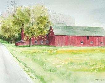 "Red barn painting, barn art ""Sunny Slope Road"" red barn giclee print"