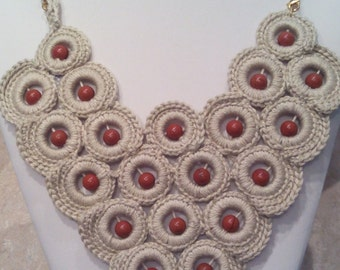 Crochet Necklace  Colar Necklace  Statement Necklace