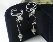 Two for One! Crystal & Silver Ear Cuffs with Matching Dangle Earrings