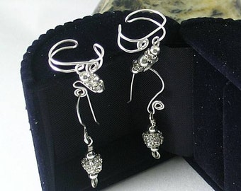 Crystal & Silver Ear Cuffs with Matching Dangle Earrings
