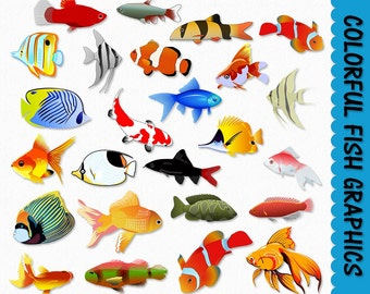 Fish Clip Art Colorful Fish Clipart Graphics Scrapbook Tropical Saltwater Digital Download Ocean Marine Animal JPG PNG Commercial Use