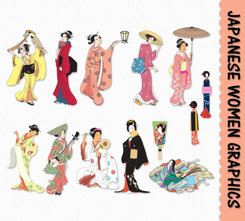 Japanese Women Clip Art Graphics Traditional Japan Clipart