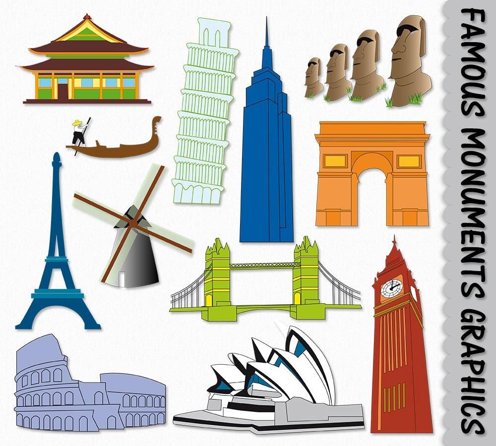 clipart landmark famous place graphic clip monument london bridge vector landmarks pisa coliseum eiffel scrapbook tower digital clipground cliparts description