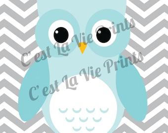 Aqua Owl with Gray Chevron 8x10 digital print Baby boy wall art INSTANT DOWNLOAD
