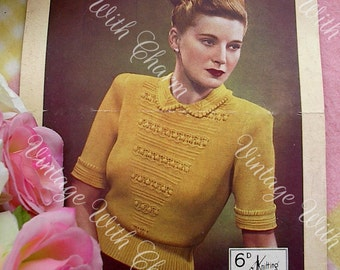 Vintage 1940s Knitting Pattern Lady's, Amazingly Detailed Collared Jumper