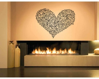 Wall Vinyl Sticker Decals Mural Room Design Heart  Love Romantic bo015