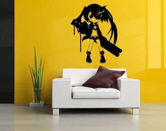 Wall Vinyl Designs vinyl removable wall stickers 2 Wall Vinyl Sticker Decals Mural Room Design Pattern Anime Girl Gun Movie Hero Bo280