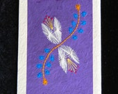 Handmade embroidered note cards from Nepal on artisan paper - 5-card pkg (1C)