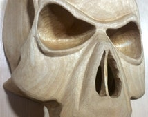 Hand Carved Birch Vampire Skull Mask with Wax Finish