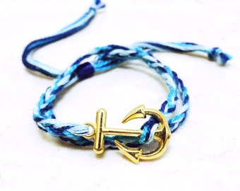 Gold Anchor Wrap Bracelet - Royal Seafoam Blue Bracelet