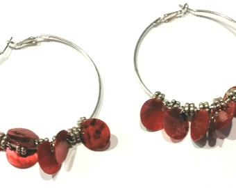 So Sassy Red and SIlver Bead Large Hoop Earrings
