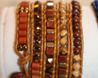 5 Wrap Bracelet - Hand crafted with Semi-precious stones