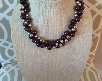 Crocheted purple and cream necklace
