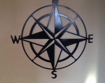 Metal compass wall art