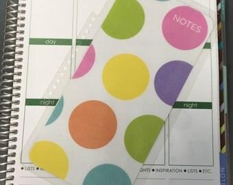 Notes Rainbow Polka Dots Laminated Dashboard Insert for Erin Condren Life Planner/Plum Paper Planner/Happy Planner