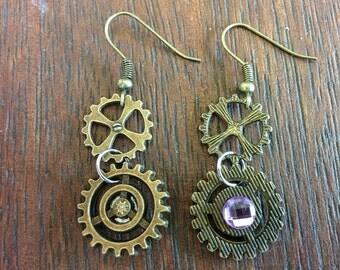 Steampunk Pink Rhinestone Earrings