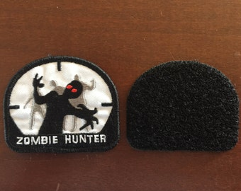 Zombie Hunter Velcro Back  3.0 x 2.75   inch   or sew on patch