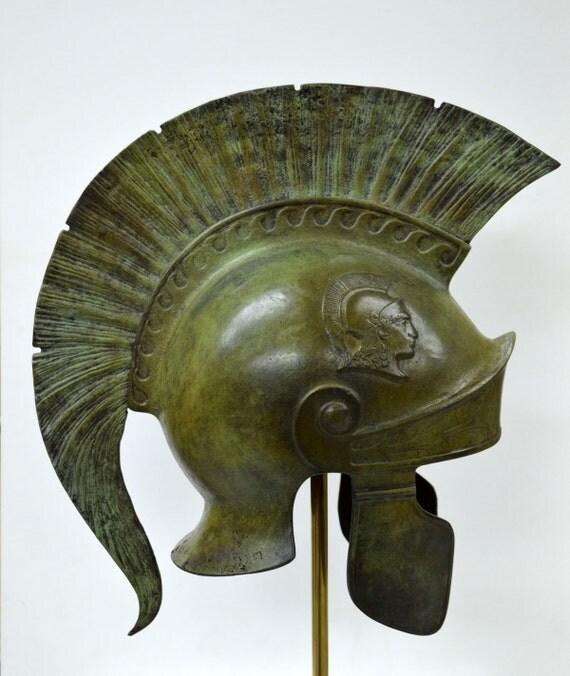 Bronze Attic Roman Great Helmet Marble Based Stand